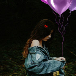 FreeToEdit girl balloons purple hairclip young shoulder showing long hair oilpaintingeffect