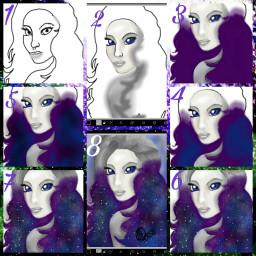 stepbystep collage girl stars drawing