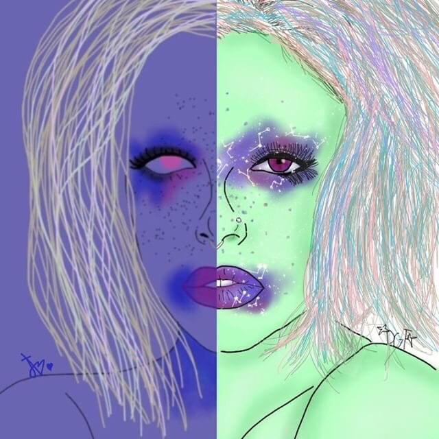 Collab with @arcadiadraws 😘💖💦🍼 mine is the the one on the right #tumblr #interesting #art #aesthetic #collaboration #alien #twosides #tumblroutline #tumblrdrawing #drawing #outline #FreeToEdit