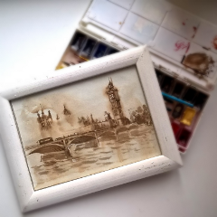 london watercolor retro sepia travel