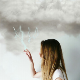 freetoedit thunderbolt clouds girl