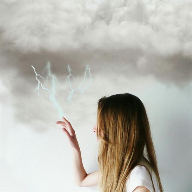 #FreeToEdit #Thunderbolt #clouds #girl