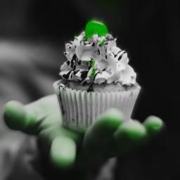 freetoedit cupcake monster green blackandwhite